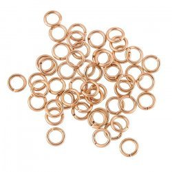 6mm Brass Jump Rings Rose Gold Plated - 18 Gauge (PK50)