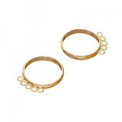 Adjustable Ring Bases 5 Loops (18mm) Gold Plated - PK2