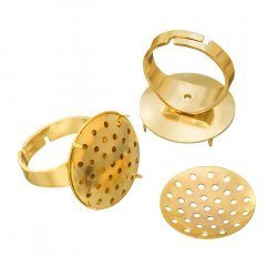 Adjustable Ring Bases Gold Plated 20mm Sieve Disc PK2