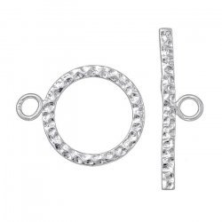 17mm Hammered Round Toggle Bar Clasp Sterling Silver PK1