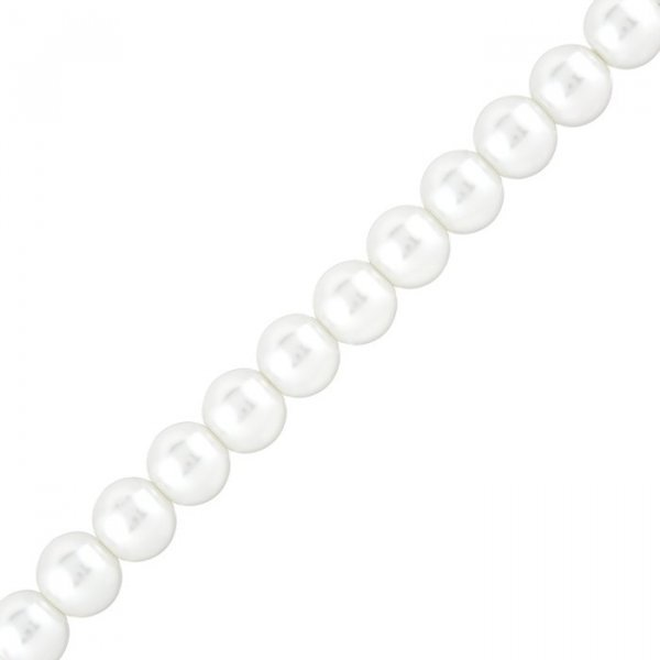 White Pearl Glass Beads Round 10mm Sold on 15.5