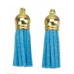 Suede Tassel Charms with Gold Cap Light Blue 36mm PK2