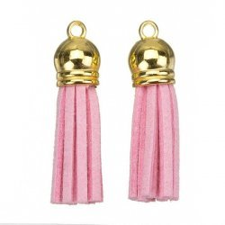 Suede Tassel Charms with Gold Cap Light Pink 36mm PK2