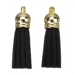 Suede Tassel Charms with Gold Cap Black 36mm PK2