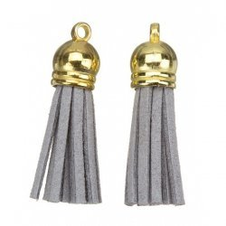 Suede Tassel Charms with Gold Cap Grey 36mm PK2