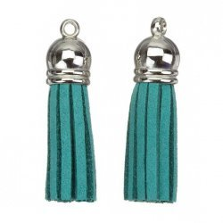 Suede Tassel Charms with Silver Cap Dark Green 36mm PK2