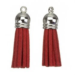 Suede Tassel Charms with Silver Cap Red 36mm PK2
