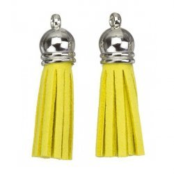 Suede Tassel Charms with Silver Cap Yellow 36mm PK2