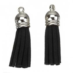 Suede Tassel Charms with Silver Cap Black 36mm PK2