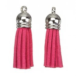 Suede Tassel Charms with Silver Cap Pink 36mm PK2
