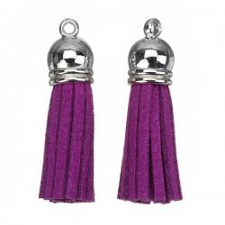 Suede Tassel Charms with Silver Cap Purple 36mm PK2