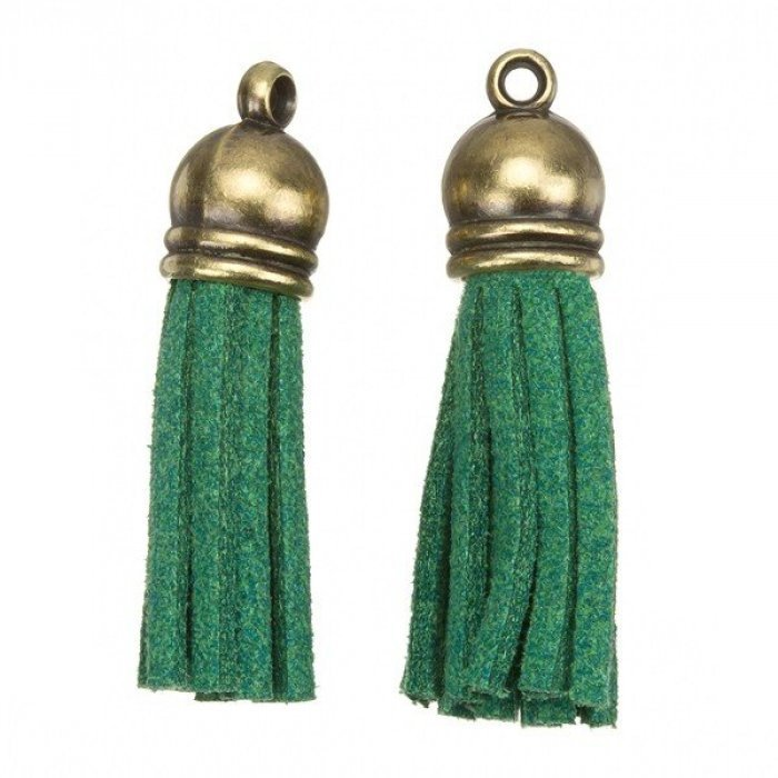 Suede Tassel Charms with Bronze Cap for Jewellery Making Green 36mm H20//6