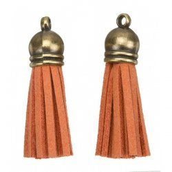 Suede Tassel Charms with Bronze Cap Orange 36mm PK2