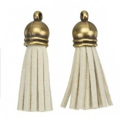 Suede Tassel Charms with Bronze Cap Beige 36mm PK2