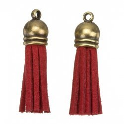 Suede Tassel Charms with Bronze Cap Red 36mm PK2