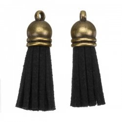 Suede Tassel Charms with Bronze Cap Black 36mm PK2