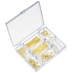 Jewellery Findings Kit Includes Bead Box - Gold Plated