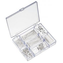 Jewellery Findings Kit Includes Bead Box - Silver Plated