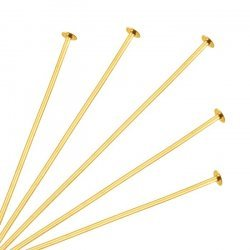 Flat Head Pins 50mm (2 Inch) Gold Plated 0.60mm - PK50