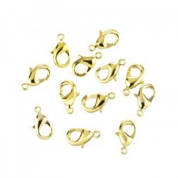 Lobster Claw Clasps Gold Plated Fasteners 12mm - PK12