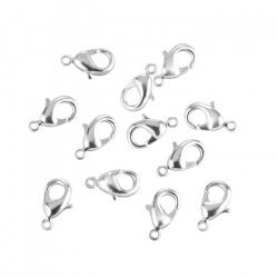 Lobster Claw Clasps Silver Plated Closures 12mm - PK12