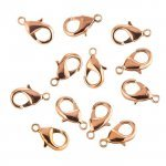 15mm Lobster Claw Clasps Copper Plated Fasteners - PK12