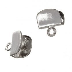 Ribbon/Cord Ends 8mm U-Shaped Silver Plated Clamps PK2