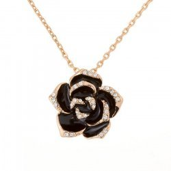 18K Rose Gold Plated Black Enamel Rose Pendant Necklace