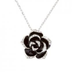 18K Platinum Plated Black Enamel Flower Pendant Necklace