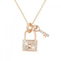 18K Rose Gold Plated Lock & Key Pendant Crystal Necklace