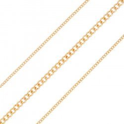 0.5mm Fine Curb Chain 1.8mm Classic Rose Gold Plated 1m
