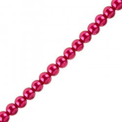 """Glass Pearl Beads Round Deep Pink - 8mm (On 16"""" Strand)"""