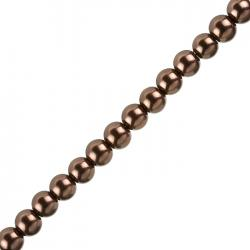 "8mm Glass Pearl Beads Round (Saddle Brown) - 16"" Strand"