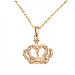 Crystal Crown Pendant Necklace - 18K Rose Gold Plated