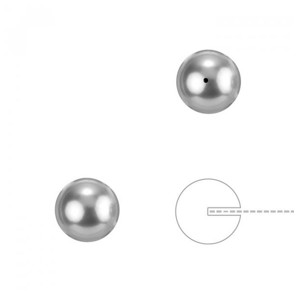 Swarovski 8mm Half Drilled Pearls Round Light Grey PK2