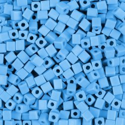 Miyuki Square Beads 4mm Opaque Light Blue Frosted 20g