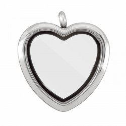 Stainless Steel Locket Heart Magnetic Pendant (Silver)