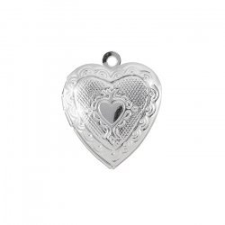 Heart Pendant Photo Locket Patterned Silver Colour 23mm