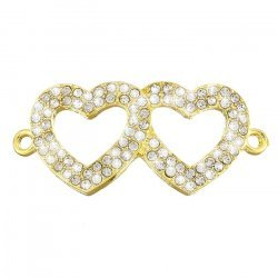 Linking Double Heart Pendant (Golden) Rhinestones 44mm