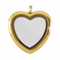 Stainless Steel Locket Magnetic Pendant Heart Gold 33mm