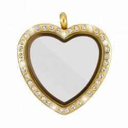 Stainless Steel Locket Magnetic Rhinestone Heart Golden
