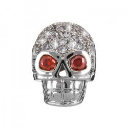 Brass Hollow Skull Bead Micro Pave Cubic Zirconia Silver