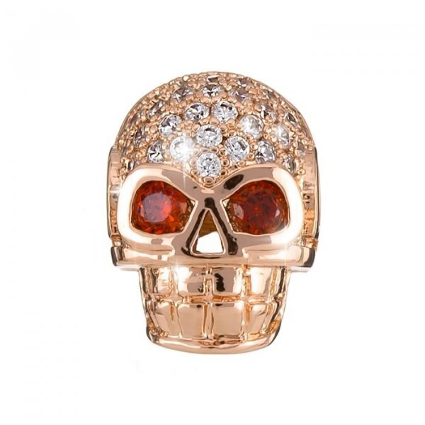 Brass Hollow Skull Bead Rhinestone Micro Pave Rose Gold