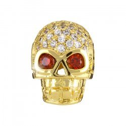 Hollow Brass Skull Bead Micro Pave Cubic Zirconia Golden
