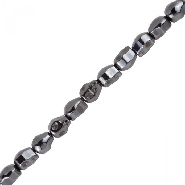 Hematite Skull Beads 10x8mm Metallic Black 8 Inch Strand