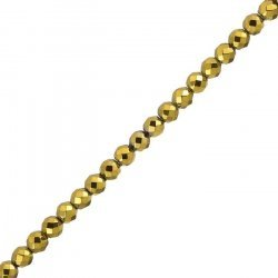 Gold Plated Hematite Beads Faceted (6mm) Semi-Precious