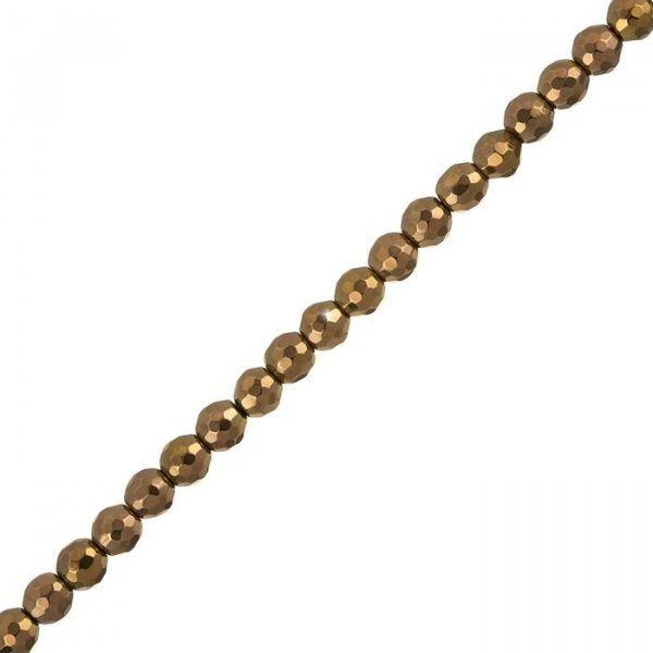 6mm Hematite Beads Copper Plated Faceted Semi-Precious