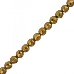 """Copper Plated Hematite Beads 8mm Faceted - 15.5"""" Strand"""