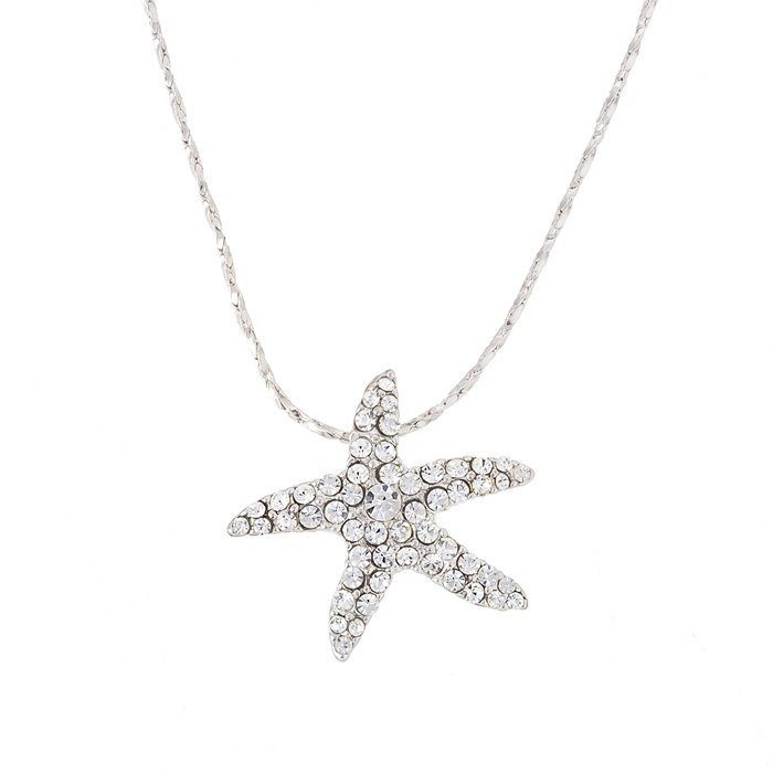 18k white gold plated starfish pendant crystal necklace mozeypictures Choice Image