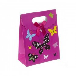 Butterflies Gift Bag - Fold Over Velcro Handle 16x12cm PK1